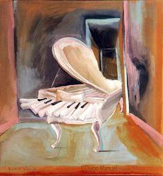 """white piano"", acrylic on canvas, 65 x 70 cm. , 2004., pinturas de Diego Manuel"