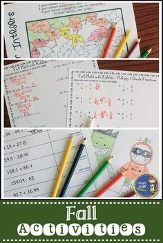 Fall Math Activities includes 4 math activities with a fall theme. Great activities to use during October and November! Skills included: Order of Operations no Exponents, Multiply & Divide Fractions, Add & Subtract Decimals, Integers All Operations $ gr 5-8