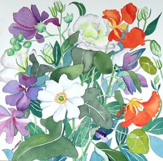 Botanical Flower Watercolour Painting in white by michelewebber, £80.00