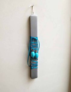 Blue begleri candle, Greek Easter candle for men, thick grey candle with a set of turquoise begleri beads, square grey Easter candle for men Chevron Ribbon, Blue Ribbon, Turquoise Beads, Turquoise Bracelet, Grey Candles, Easter Candle, Greek Easter, Easter Celebration, Silver Color