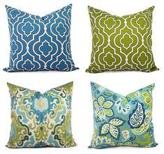 Decorative Pillow Cover - Blue and Green Pillows - Ikat Pillow Cover - Moroccan Trellis Pillow - Quatrefoil Pillow - Euro Sham - Lumbar