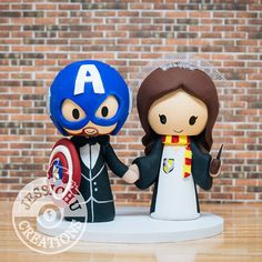 Captain America Groom & Harry Potter Gryffindor Bride Vintage Wedding Cake Topper - Star Wars, Hogwarts, Comic Book, Avengers Shield, Always