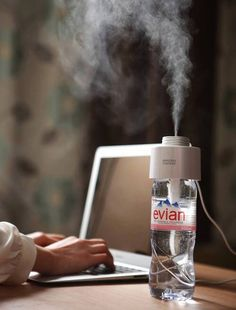 Amazing humidifier turns any water bottle into a humidifier. How cool it this little gadget?! Plus, its a fraction of the cost of any humidifier on the market. Buying this now!
