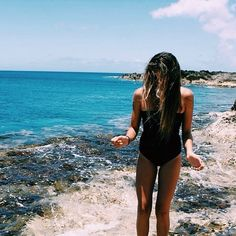 Head out to the beach before summer is over! Beach Girls, Beach Bum, Summer Beach, Summer Feeling, Summer Vibes, Surf, Cut Out Swimsuits, Summertime Sadness, Black Swimsuit