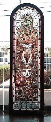 19th Century Rare Stained and Zipper Beveled Glass Window