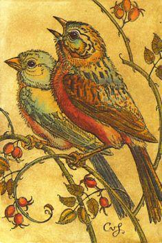 AFBR - Birds w/Rosehips  ~  Charles van Sandwyk
