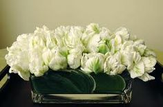 white parrot tulips in contemporary glass trough vase | Easter/Spring table decoration