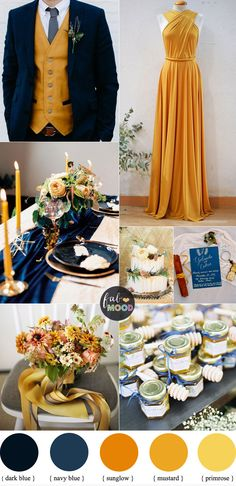 Beautiful fall color combinations of Mustard and Navy blue Color Combos { Primrose Yellow + Sunglow Yellow Pantone 2018 } wedding colors yellow Mustard and Navy blue Color Combos { Primrose + Sunglow Yellow Pantone 2018 } Mustard Yellow Wedding, Blue Yellow Weddings, Yellow Wedding Colors, Winter Wedding Colors, Autumn Wedding, Burgundy Wedding, Winter Weddings, Wedding Navy, Mustard Wedding Theme