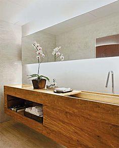 Zen Bathroom   Natural   Light Wood   White   Linear Mirror   Hidden Lights