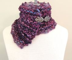 Lauren Asymetrical Collar scarf in Soft hand by IntricateKnits, $45.00
