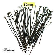 50 Kugelstifte schwarz Gunmetall 50x06mm   von Schmuckmaterial