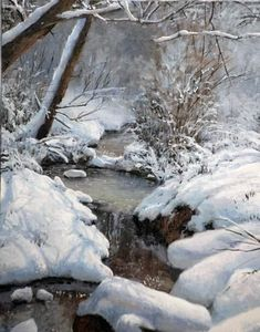 Discover Michael Godfrey's art and his passion for capturing the grandeur of God's creation in his award-winning landscape paintings that span all seasons Painting Snow, Winter Painting, Winter Art, Winter Snow, Landscape Artwork, Watercolor Landscape, Pictures To Paint, Art Pictures, Winter Landscape