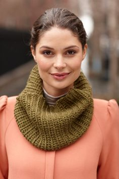 Mock Rib Crochet Cowl free pattern from Lion Brand