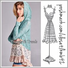Minty Lace Hoodie Sweater All the trendy components are adorable in this minty lace floral print ruffle hem hoodie sweater. Made of a cotton/knit blend and lace. Size S, M, L. The perfect transition piece from winter to spring. Threads & Trends Tops Sweatshirts & Hoodies