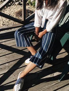 Nautical stripes. Summer outfit dreams. Culottes from Faithfull The Brand, blouse from Filippa K, and shoes from Superga. More of this look on my blog: https://lifeoftita.com/2017/09/01/summery-culotte-look/