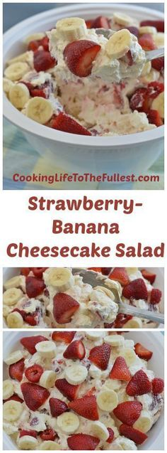 Strawberry-Banana Cheesecake Salad is a great dessert recipe & has endless possibilities to make it your own. Different fruits can be added or substituted. Strawberry Banana Cheesecake Salad, Strawberry Recipes, Fruit Recipes, Sweet Recipes, Dessert Recipes, Cooking Recipes, Banana Fruit, Whip Cheesecake, Dip Recipes