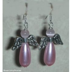 Charming Pink Angel Beads Earrings Handcrafted ,one of kind , all jewelry we sell are guaranteed 100% authentic handmade. With Sterling Silver Earwires.  Glass Teardrop Pearls, Pink Catseye Beads