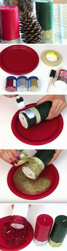 Glitter Dipped Candles | 25+ DIY Christmas Decor Ideas for the Home