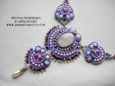 Bead Embroidery Necklace Soutache Purple by PreciousHeartBeads, $125.00