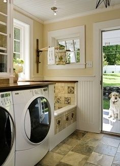 Love, love the built in dog washing station, but needs to be floor to ceiling tile with a drain on the floor. Pull Out Ironing Board, Stacked Washer Dryer, Washer And Dryer, Washroom, Mud Rooms, Building A House, Building Ideas, Washing Machine, Laundry Room