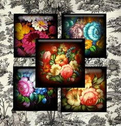 russian Art work image | Zhostovo Russian Folk Art Digital Collage - Digital Delivery Only ...
