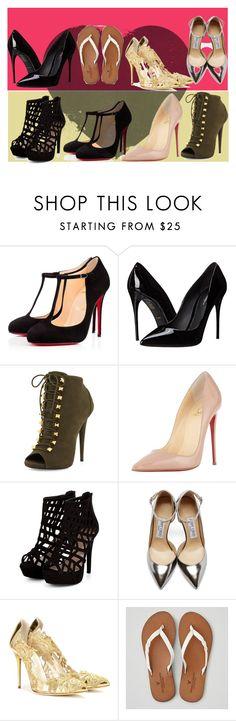 """Shoe Mania"" by cudagirl831 ❤ liked on Polyvore featuring Christian Louboutin, Dolce&Gabbana, Giuseppe Zanotti, Jimmy Choo, Oscar de la Renta, American Eagle Outfitters, women's clothing, women's fashion, women and female"