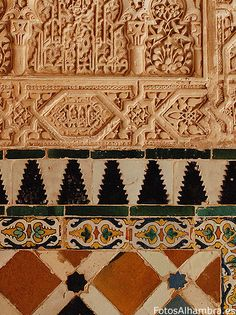 SPAIN / MUDÉJAR Style - Mudéjar style: a symbiosis of techniques and ways of understanding architecture resulting from Muslim and Christian cultures. Yeserías y azulejos de la Alhambra Moroccan Design, Moroccan Decor, Alhambra Spain, Andalusia Spain, Islamic Architecture, Art And Architecture, Islamic Patterns, Ceramic Wall Art, Pattern Library