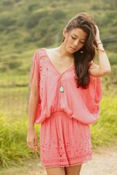 This coral tunic dress is gorgeous too!