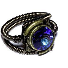 Steampunk Jewelry - RING - Bermuda Blue Swarovski Crystal (Custom size available - see description)