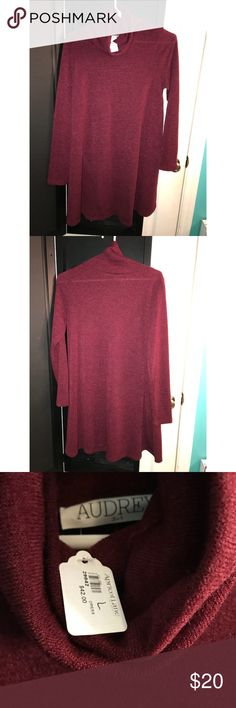 NWT Cowl Neck Sweater Dress Plum/Red size Large This Turtle Neck Sweater dress is very cute, and a light material. The color is a dark red/purple/plum color. The turtle neck is not too tight or confining it is fairly loose. The dress comes to around my knees. It is a loose dress the sizing is around a 10-12.   Comes from a smoke-free home. Never worn. Audrey 3+1 Dresses Long Sleeve