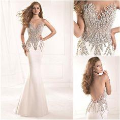 cd29bc66cf Find More Prom Dresses Information about 2015 Shiny Sheer Scoop Neckline  Beading Tarik Ediz Prom Dresses