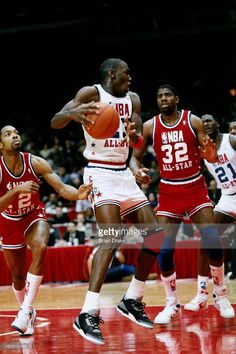 Michael Jordan #23 of the East All Stars drives against Magic Johnson #32 of the West All Stars during the 1992 NBA All Star game on February 12, 1989 at the AstroDome in Houston, Texas.
