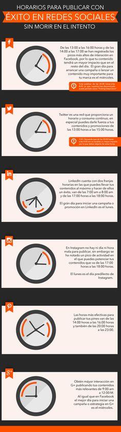 Info-horarios-para-publicar-en-redes-sociales Marketing En Internet, Marketing Pdf, Marketing Digital, Business Marketing, Online Marketing, Social Media Marketing, Marketing Ideas, Business Tips, Social Media Design