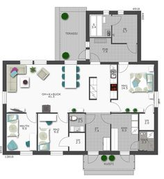 Talovalmistaja - Design-Talo Eteinen-khh, sauna/kylppäri Future House, My House, Retro Home, My Dream Home, House Plans, Floor Plans, Layout, Construction, House Design