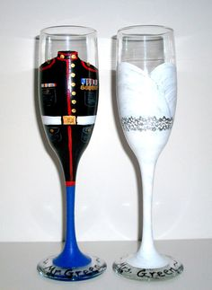 Marine Uniform and Wedding Dress Set of 2 / 6 oz. Champagne Flutes Bride and Groom Marine, Army, Navy, Air force Uniform Hand Painted