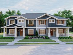 Plan Two Family Craftsman With Alley Garage Duplex House Plans, Apartment Floor Plans, House Floor Plans, Family House Plans, Home And Family, Construction Cost, Multi Family Homes, Roof Plan, Story House