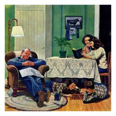 """After Dinner at the Farm,"" March 27, 1948 Giclee Print by John Falter at AllPosters.com"