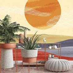 Desert Sunset Removable Wallpaper, Pretty Peel and Stick, Abstract Art Wall Cling, Cool Living Room Decor, Retro Mountains Wall Mural - Smooth Wall Decal / 1 roll: 24W x 108H