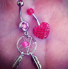 Cute pink heart and dream catcher belly button ring