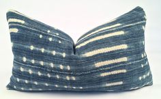 Lumbar Blue and White African Mudcloth Pillow