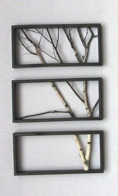 Simple Framed Twig Art.     #DIY, #artsandcrafts, #simple