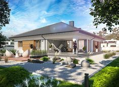 Projekt domu Fabian 2 148,36 m2 - koszt budowy - EXTRADOM 50th, Mansions, House Styles, Outdoor Decor, Case, Home Decor, Decoration Home, Manor Houses, Room Decor