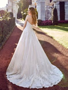 Bridesfamily Romantic Tulle Sweetheart Neckline A-line Wedding Dress With Lace Appliques Chapel Train, Lace Applique, Ronaldo, A Line Skirts, Big Day, Tulle, Satin, Glamour, Romantic