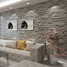 Stacked Brick Stone Wallpaper Modern Wallcovering PVC Roll Wallpaper Brick Wall Background Wallpaper Grey For Living Room 3d Brick Wallpaper For Walls, Brick Wallpaper Living Room, Stone Wallpaper, Brick Wall Background, Wallpaper Decor, Vinyl Wallpaper, Wallpaper Roll, Hallway Wallpaper, Painting Wallpaper
