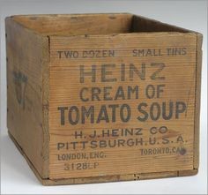 The Vintage Wall - Heinz Cream of Tomato Soup wooden box crate