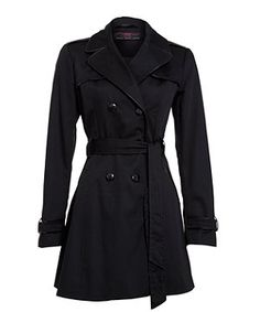 Black (Black) Black Patent Piped Trench Coat | 255609301 | New Look
