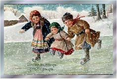 17th century Christmas card - children skating