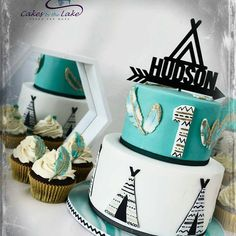 Teepee cake by consisted of vanilla/turqouise swirled butter cake finished with hand painted fondant decorations. Wild One Birthday Party, First Birthday Cakes, 1st Boy Birthday, Boy Birthday Parties, Birthday Ideas, Birthday Decorations, Teepee Party, Tribal Baby Shower, Cakes For Boys