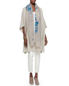 Kimono Fine Super-Soft Cape, Silk Georgette Tank, Slim Stretch Ankle Jeans & Floral Fringe-Trim Scarf    by Eileen Fisher at Neiman Marcus.