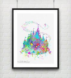 Disney Princess Castle Watercolor Print, Baby Girl Princess Room Art, Minimalist Art Print, Home Decor, Not Framed, Buy 2 Get 1 Free!